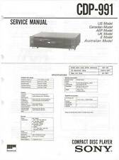 SONY CDP-991 CDP 991 - CD PLAYER - SERVICE MANUAL IN COLOR VERSION - REPAIR -