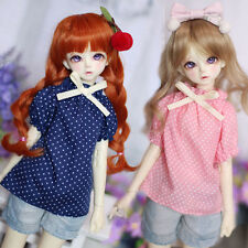 New Blue Sweet Bow Cute Lovely Shirt/Short Sleeve For 1/4 MSD BJD Clothes bubble