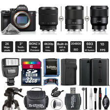 Sony Alpha a7 III Mirrorless Camera + Slave Flash + Tripod - Choose Your Lens