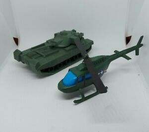 PLASTIC TOY SOLDIER Army Tank & Army Helecopter toy lot unbranded, Imperial?