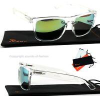 Große Sonnenbrille Transparent Türkis Verspiegelt Nerd Rechteckig Big XL T2
