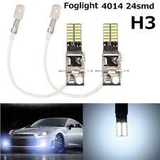 2* H3 6500K White 24-SMD 4014 LED High Power Bulb DRL Fog Light Driving Lamp 12V