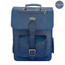 """New 16"""" Large Backpack Genuine Black Leather Rucksack Laptop Travel Satchel Bag"""