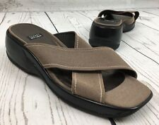 Stuart Weitzman Crossover Canvas Slide Wedge Sandals Sz 8.5 AA Narrow