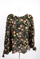 Banana Republic Women's Shirt Blouse M Black Floral Long Sleeve Bow Detail
