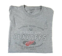 NHL Detroit Red Wings Stanley Cup Playoffs Gray Hockey T Shirt Adult sz. L