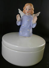 Goebel 839914 Figurine 1974 Angel Girl Blue Dress Trinket Candy Powder Dish Box