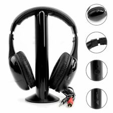 5 in 1 Wireless Headphones Cordless RF Earphone With Mic For PC TV DVD Radio