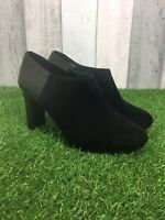 Marks & Spencer Black Leather Suede Block Heel Ankle Boots Booties UK Size 7.5