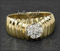 Vintage Diamant Damen Ring mit 0,21ct, 585 Gold Cocktailring Gelbgold & Weißgold