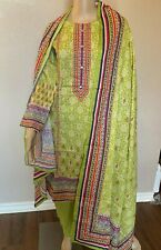 New Bin Saeed Stitched printed Lawn 3 Piece Shalwar Kameez suit-Medium-Green