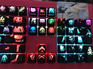 Anime keycaps cartoon otaku Backlitght key translucent keycap set  For MX switch