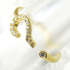 Womens Ring Jewelry Yellow Gold Question Mark Crystal Wrap Size Adjustable