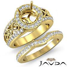 Vintage Diamond Engagement Ring Round Bridal Set 18k Gold Yellow SemiMount 1.52C