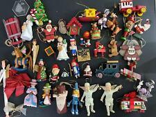 Lot of Collectible Christmas Tree Holiday Ornaments Wood Folk Santa Angels