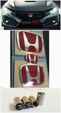 3PCS Front+Rear+SteeringWheel Red H Emblem Fit For 08-15 HONDA ACCORD SEDAN 4Dr