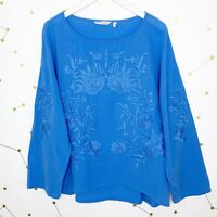 Soft Surroundings Tunic Top Size Small S Blue Floral Embroidered Gauzy Oversized