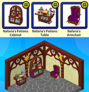 2011 Webkinz 3-pc NAFARIA Star Trades: Nafaria's Potions Cabinet & Table & Chair