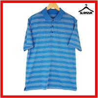 Nike Golf Mens Polo Shirt M Medium Blue T-Shirt White Striped Tour Performance