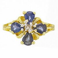 14k Yellow Gold Pear Sapphire & Diamond Lucky Clover Cluster Ring Size 6.5
