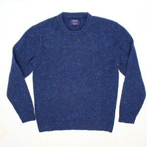 Charles Tyrwhitt Weekend Mens Crewneck Sweater L Blue Melange Wool Made in Italy