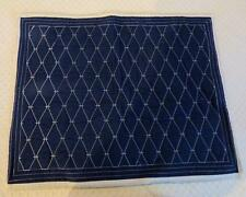 Martha Stewart Diamond Stitch Standard Sham, Cotton Navy/ White