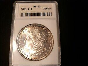 1881 S MORGAN SILVER DOLLAR ANACS MS 65 366074