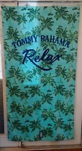 BRAND NEW Tommy Bahama Beach Towel - Relax Palm Trees Blue Background