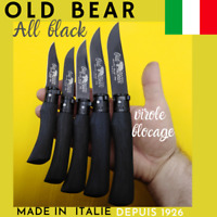 COUTEAU PLIANT MADE IN ITALIE OLD BEAR ALL BLACK  VIROLE NOIRE  CHASSE  CAMPAGNE