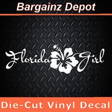 "Vinyl Decal.. FLORIDA GIRL.. Hibiscus Flower Floridian Car Laptop Sticker 8"""