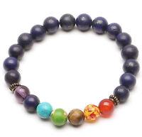7 Chakra Healing Balance Beaded Bracelet Lava Yoga Reiki Prayer Stone Unisex Wow