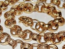 9CT GOLD ON SILVER CHUNKY 26 INCH MEN'S SOLID BELCHER CHAIN - HEAVY 104.1 grams
