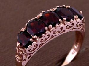 R247- Genuine 9ct SOLID Rose Gold Natural Garnet Bridge Anniversary Ring size N