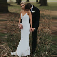 2019 White Mermaid Spaghetti Straps Backless Bridal Gowns V-Neck Wedding Dresses