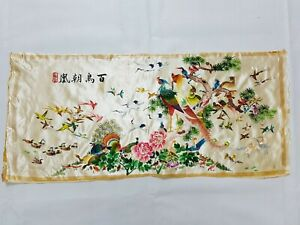 Antique Chinese 100 Birds Hand Embroidery Wall Hanging Panel 81x36cm