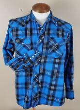 WRANGLER Men's Shirt Plaid Flannel XL Long Sleeve Button-Front Blue Pearl Snaps