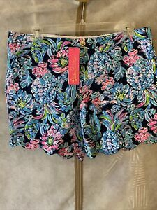 NWT Lilly Pulitzer Darci Knit Short High Tide Navy Pineapple Paradise 16
