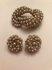 Vintage ART Signed Gold Tone Faux Pearl Brooch & Clip On Earrings
