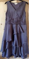 MONSOON wedding party knee length dress.Grey metallic.Tiered skirt.Size 12