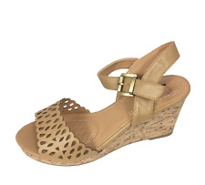 Womens Ladies Tan Faux Leather Wedge Heel Strappy Shoes Sandals Size UK 7 New