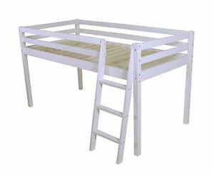 "Shorty Cabin Bed New Mid Sleeper loft Bunk White Frame Childrens Bed 2FT 6"" Pine"