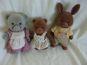 """LOT 3 Sylvanian Bears Bunny TOMY Performers NOT WORKING  Flocked 5"""" - 8"""" VINTAGE"""