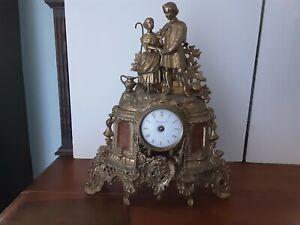 Vintage Italian Brass Imperial Mantle Clock