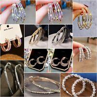 Fashion Big Hoop Earrings Silver/Gold Women Lady Large Hoops Earrings Jewelry