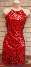 BE BEAU SEQUIN LONG NECK SEQUINS BEADED PARTY EVENING RED SHIFT TUBE DRESS 8 S