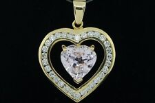 Custom made 14K Yellow Gold Heart Shaped Kunzite and 30 Diamond Pendant