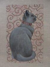 Grey Cat Hand Painted Needlepoint Canvas Liz Dillon Susan Roberts AP462hd