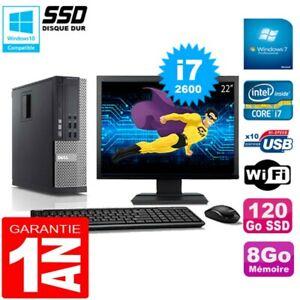 """PC DELL 790 SFF Core I7-2600 Ram 8Go Disque 120Go SSD Graveur Wifi W7 Ecran 22"""""""