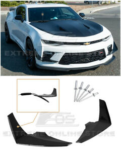 For 16-18 Chevy Camaro SS Glossy Black Front Bumper Side Canards Dive Plane Pair