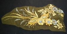 Lusso Grande pezzo Giallo & Paillettes dorate perline floreale in pizzo